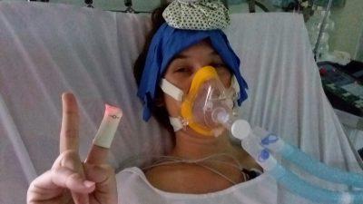 Susanne am Beatmungsgerät