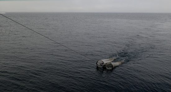Das Bongonetz fischt nahe der Wasseroberfläche Kleinstlebewesen aus dem Ozean