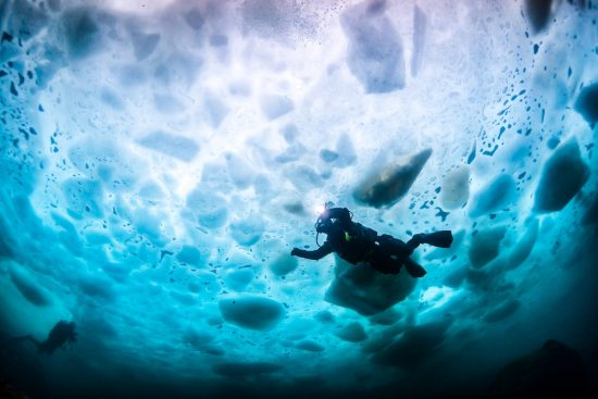 During a safari to Antarctica you can go ice diving