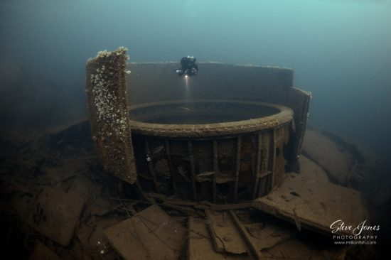 The armoured barbette that housed one of the 5 main gun turrets of HMS Audacious, the first British battleship to be sunk in WW1