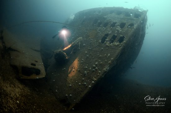 This magnificent Ocean Liner was capable of carrying 4000 soldiers. This is the view of the bow from the seabed at 235 feet/72 metres