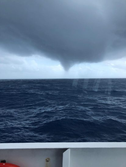 Photo of the water spout as seen from R/V Point Sur. Image courtesy of Joshua Bierbaum.