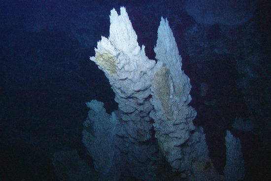 Arbonate spires in the Lost City vent field. Atlantic Ocean, Mid-Atlantic Ridge.   DateJuly 2005 SourceNOAA Photo Library: expl2230 AuthorIFE, URI-IAO, UW, Lost City Science Party; NOAA/OAR/OER;; The Lost City 2005 Expedition. This file is licensed under the Creative Commons Attribution 2.0 Generic license.