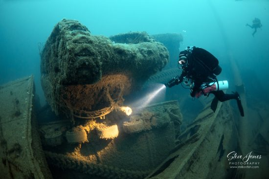 Sherman tanks lie entangled with trucks, spread across the wreck and seabed as far as our eyes can see on the Empire Heritage, which lies at 67 metres.