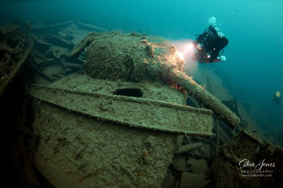 SS Empire Heritage. Sunk in World War 2 carrying a cargo of war materials including these Sherman Tanks. Lies at 67 metres depth
