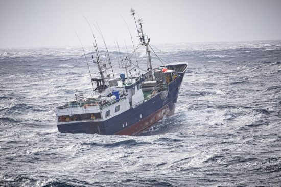 "Longliner fishing vessel Hito (former name Generoso Tercero"") in international waters off the Spainish coast. Captain onboard Hito was very friendly and told they were putting out lines to see if there was any fish in the area. Greenpeace ship Esperanza is investigating the overfishing of sharks in the North Atlantic ocean on transit to the Azores., Pole to Pole Tour 2019"