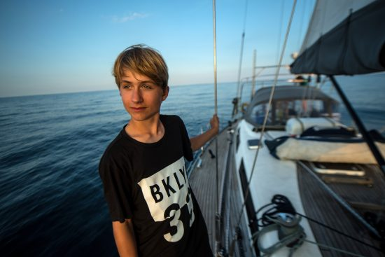 Mikkel, aged 14, on his way to the secret island in Norway.
