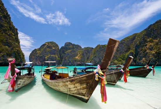 Long Tail Boat at Maya bay, PhiPhi Island , Phuket Thailand - fascinating dive destinations