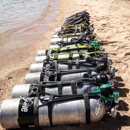 Gas switch - cylinders on the beach